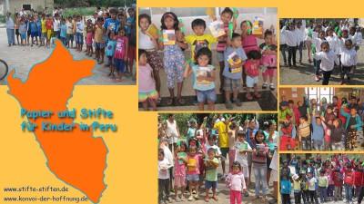 Malstifte, Kugelschreiber und Papier für Kinder in Peru