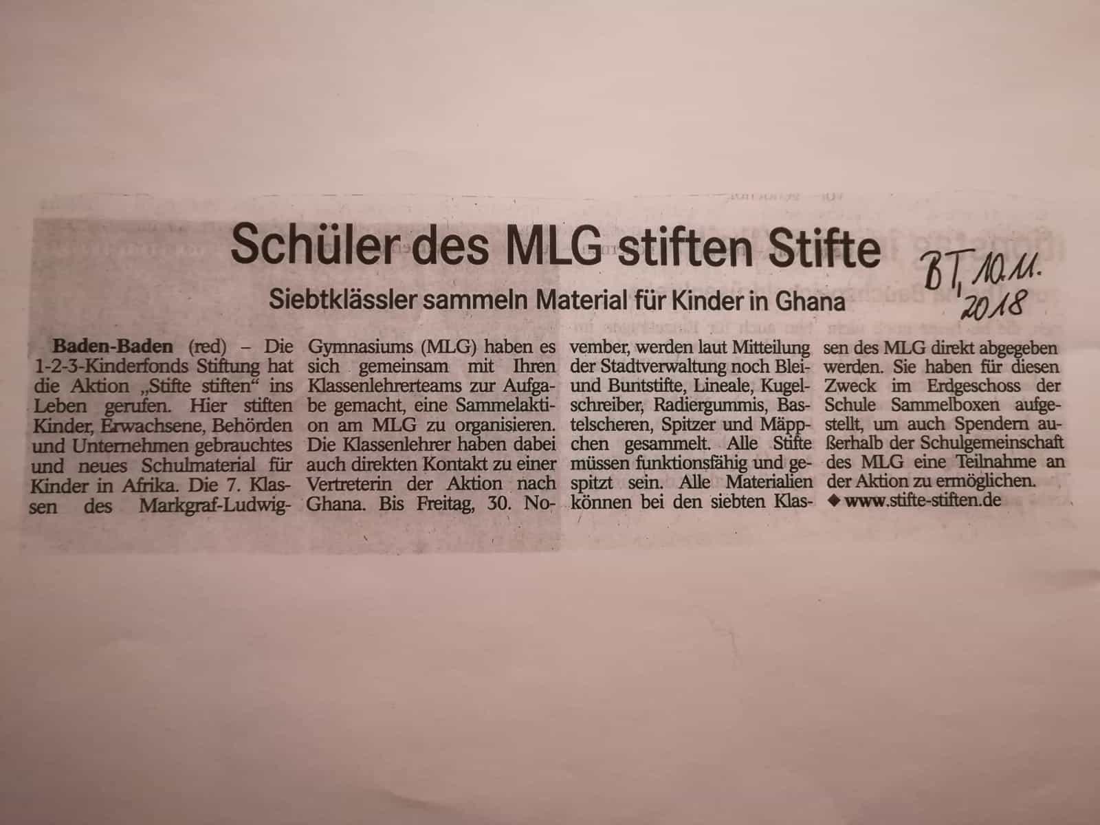 MLG stiftet Stifte