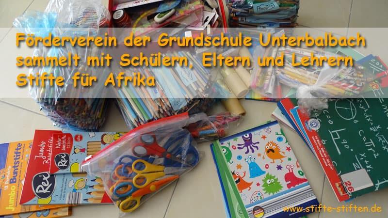 Förderverein der Grundschule Unterbalbach sammelt mit Schülern, Eltern und Lehrern Stifte für Afrika