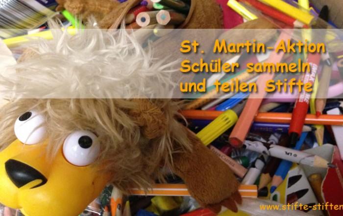 Schüler sammeln und teilen Stifte zu St. Martin