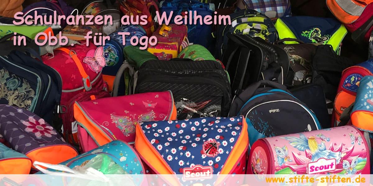 Schulranzen aus Weilheim in Obberbayern für Togo